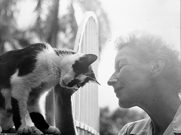 EH6417P 1945 Mary Hemingway with cat, Boise. Finca Vigia, San Francisco de Paula, Cuba. Copyright unknown in the Ernest Hemingway Collection at the John F. Kennedy Presidential Library and Museum, Boston.